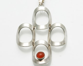 Vintage 1970's Modernist 925 Silver Red Orange Carnelian Pendant Circles sterling