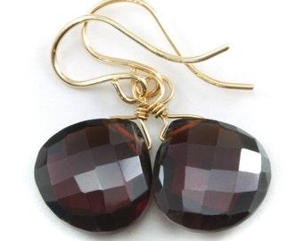 Deep Red Garnet Earrings Faceted Heart Drop Dangle 14k Gold Filled or Sterling Silver
