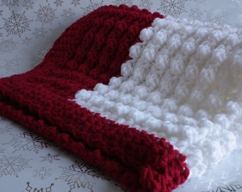 Red and white handmade extra thickness crochet baby blanket/shawl. Ideal Christening / shower /new baby gift.