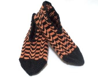 Knitted slippers, Cozy slippers, Women slippers, Orange, Black, Otantic Slippers, Turkish Socks,  House shoes, Floral slippers