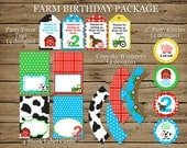 Farm Birthday Party Pack: DIGITAL printable banner, posters, labels, wrappers