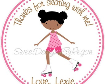 Roller Skating Party Favor Tags - African American Design (set of 12) Rollerskating Birthday Favors