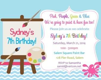 Painting Party Birthday Invitation  -  (Digital File) / Painting Birthday Party / Paint Party Invitation / Paint Invitation