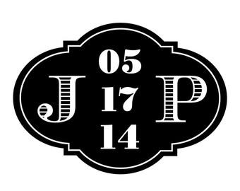 Vintage Stripes Wedding Logo Design - DIY, Monogram, Elegant, Black, White