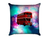 Outer Space Red Double Decker Bus - Original Graphic Sofa Throw Pillow