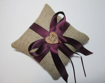Personalized Rustic Burlap Ring Bearer Pillow Shown with Eggplant / Plum Purple Ribbon