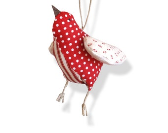 textile bird, handmade home decoration, red and white, dots