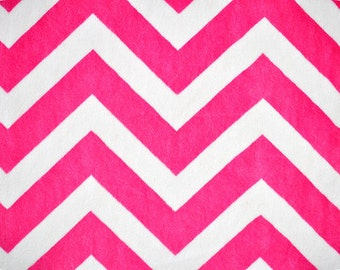 Minky Couture Dog Bed Hot Pink Chevron with Ligth Gray Dot-Medium
