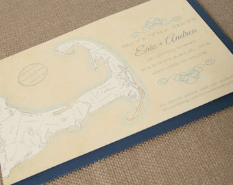 Save The Date- MA / Cape Cod, Massachusetts - Blue, Vintage