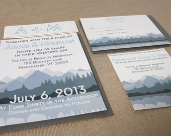 Deposit listing = Mountain Wedding Invitation Suite- Modern- Blue and Gray
