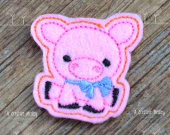 Pig felt feltie Embroidery design - instant download