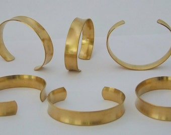 Set of 6 Concaved Brass Bracelet Cuff Blanks For Jewelry Making .5 inch