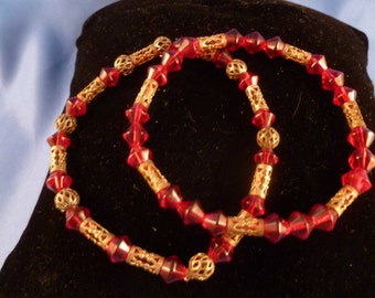 Two Gold and Red Stretch Bracelets