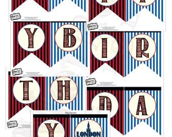 Vintage London Birthday Banner