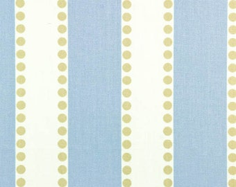 "TWO Curtain Panels, 50"" x 84"" - Blue And White Stripe with Beige Polka Dots"