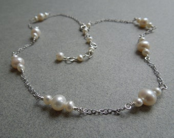 Freshwater Pearl Necklace: Pearls and Textured Sterling Silver Chain- June Birthstone- Bridal Necklace- Wedding Necklace