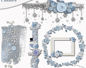 Winter Frost Clusters for Snow Scrapbooking Blue, Project Life, Snowman, Snow Flakes,  Instant Download