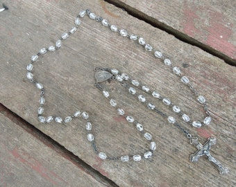 Vintage Sterling Rosary Necklace with Clear Crystal Glass Beads Sterling Silver Cross