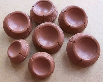 vintage mid century blushing tan chunky shank coat jacket cowl buttons with deep concave centers--two sizes--matching lot of 7