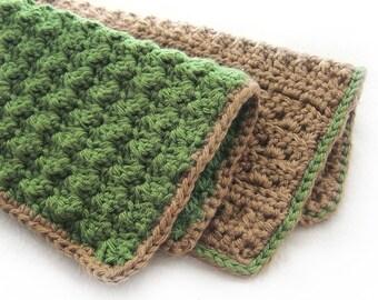Handmade Cotton Linen Washcloths - Gift Set of 2 - Natural Tan Brown Olive Green - Crochet Spa Housewarming Bath Gift