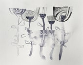 gray abstract flowers (original watercolor 13 x 10)