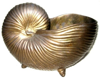 PRICE REDUCED - Vintage Brass Snail Planter, Extra Heavy - Over Five Lbs