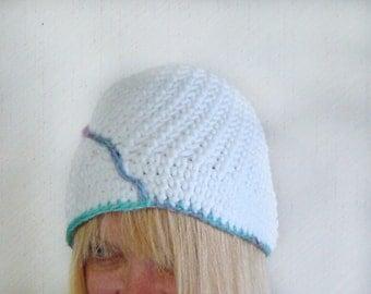 Crochet Cloche Hat, White Beanie, Womens Crochet Cap, White Tam With Stripe, Fall Fashion Hat, Autumn Trends Tam, Crochet Hat