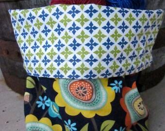 Navy Blue Mod Floral Knitting Project Bag - Phat Fiber