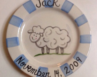 Personalized Blue Lamb Birth Plate