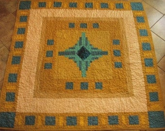 REDUCED  20% OFF-- Gold and Teal Medallion Lap Quilt