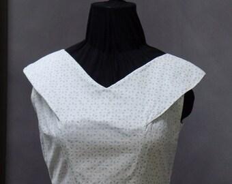 Vintage 1940's Handmade Cotton Picnic Dress White with Blue Daisy Print