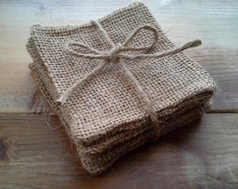 Set of 4-Burlap Coasters- 3 Colors Available-Rustic/Folk/Country-Natural-Farmhouse-Cabin-Country Home Decor-Hostess Gift-Housewarming Gift