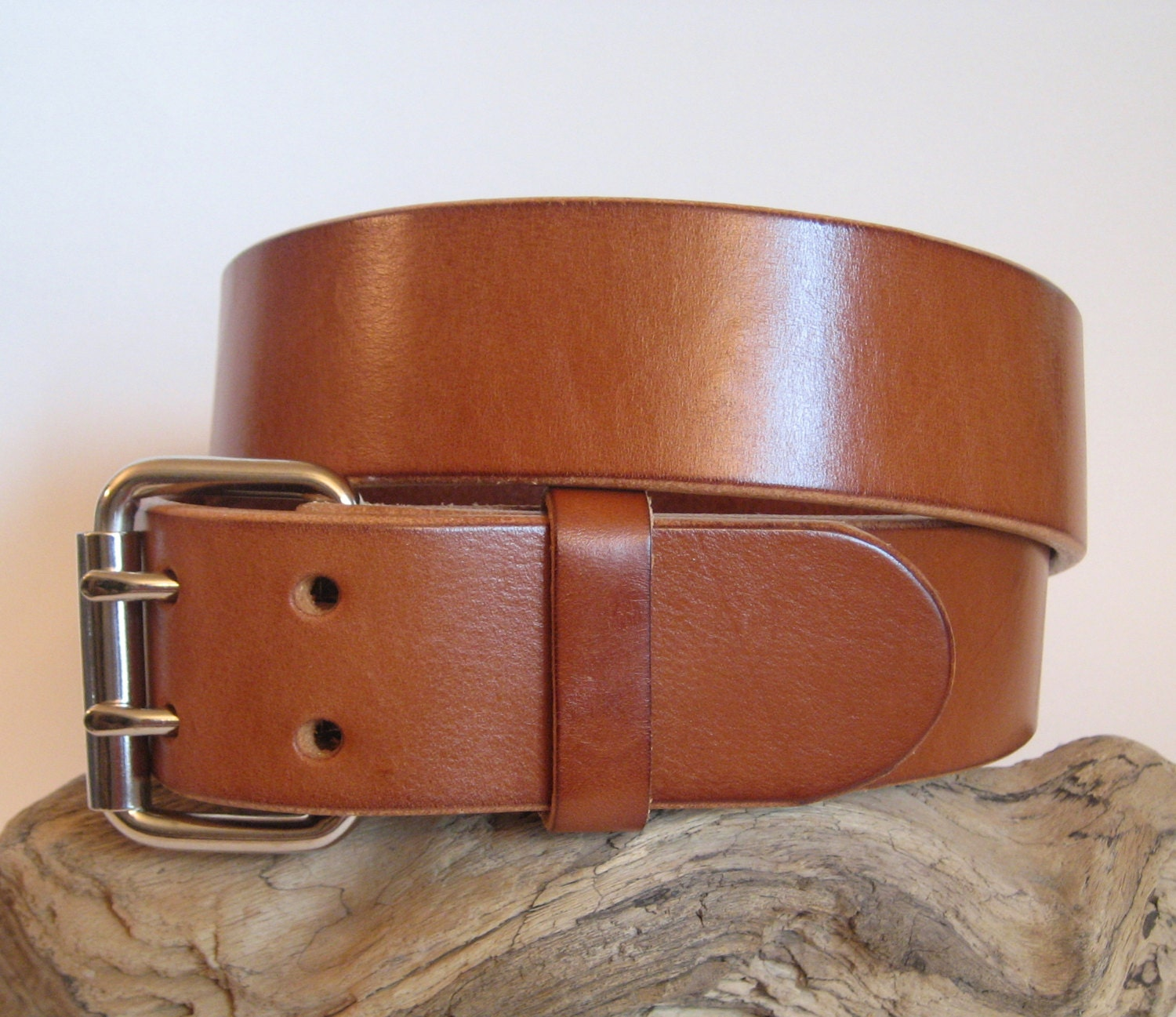heavy duty leather belt suntan brown 2 prong by