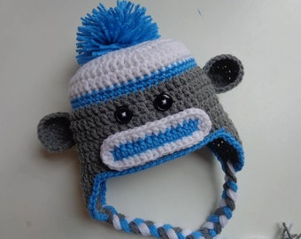 Newborn Blue Sock Monkey Hat- Photo Prop- Baby Girl Baby Boy