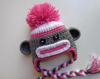 Newborn Crochet Girl Sock Monkey Hat- Photo Prop- Pink- Baby Girl
