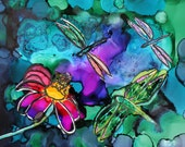 Three Dragonflies And A Flower Alcohol Ink On Yupo Paper Painting