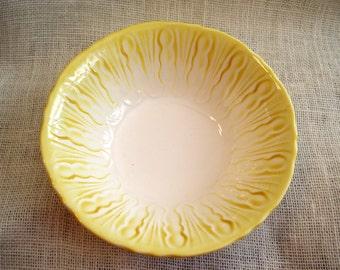 "Vintage Yellow White Serving Bowl, Textured Glazed Pottery Glass Vegetable Bowl, Art Deco Style 8.75"""