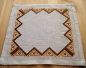 Decorative Vintage Swedish Christmas Small Tablecloth - Napkin with Brown and Gold colour Ornament  - Needle Point Work, Embroidery