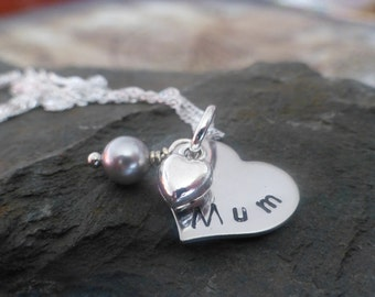 Hand stamped necklace for Mum, heart necklace, Mother's day, Birthday gift, personalise