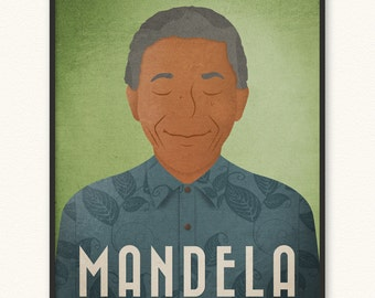 Nelson Mandela • Minimalist Portrait Poster • Choose Style • Art Print • Unity