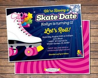Free Roller Skating Birthday Party Invitations ~ Skate party invitations purplemoon