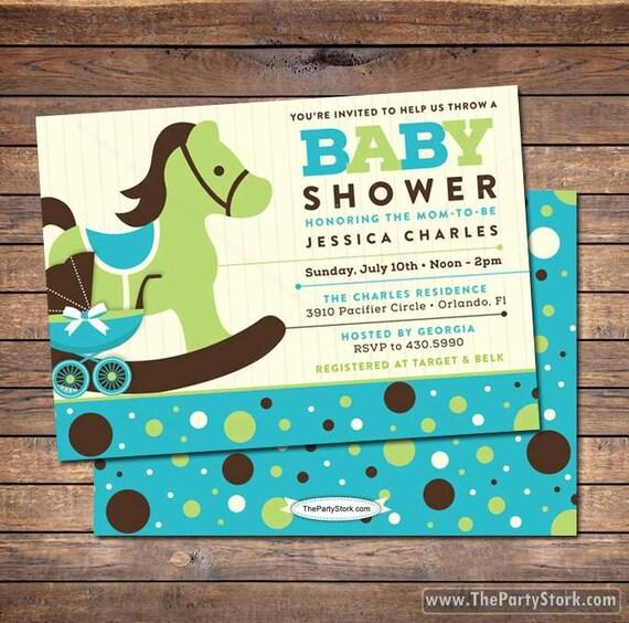 Rocking horse baby shower invitation blue brown green custom boy il570xn filmwisefo
