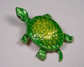 Turtle Brooch, Figural, Green and Yellow, Vintage