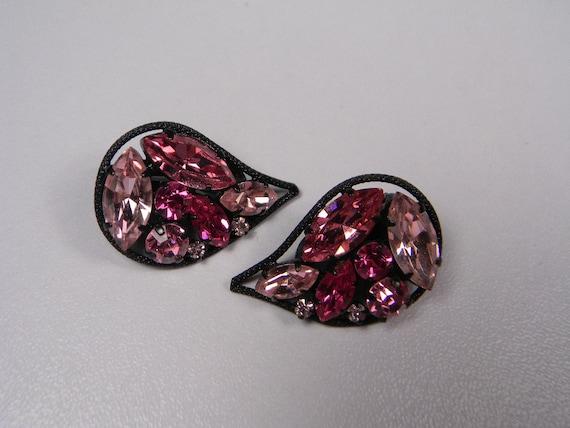 Made in Austria Pink Earrings, Japanned Teardrops with Pink Rhinestones, Vintage