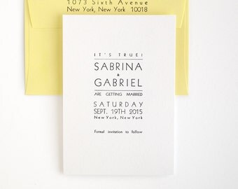 Essex Letterpress Save the Date - Modern Wedding / Bold Typography - Lemon Yellow