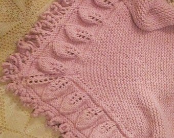 Handmade Pink Knit Triangle Shawl with Leaf Border and Looped Fringe, Jumbo Version