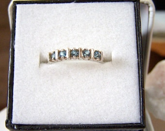 Blue Topaz Ring Sterling Hallmarked Authentic Vintage Artisan Altered Genuine Swiss Blue Topaz Gemstone 5 Stone Ring