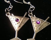 1 Pair Purple Martini Glass Earrings Tibetan Silver or YOU CHOOSE ACCENT 21st Birthday Happy New Year Bachelorette Party Rhinestone