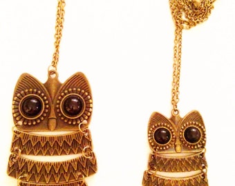 Big owl - small owl necklace