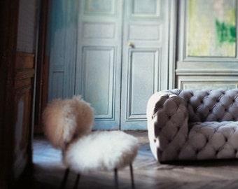 Mongolian Lamb Fur Chair Natural white Sheepskin Mid Century Chair legs